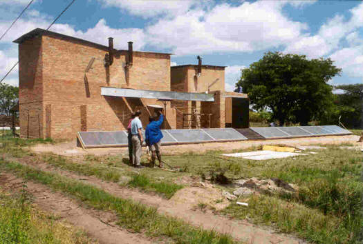 Test solar systems installed by barns at the Tobacco Research Station